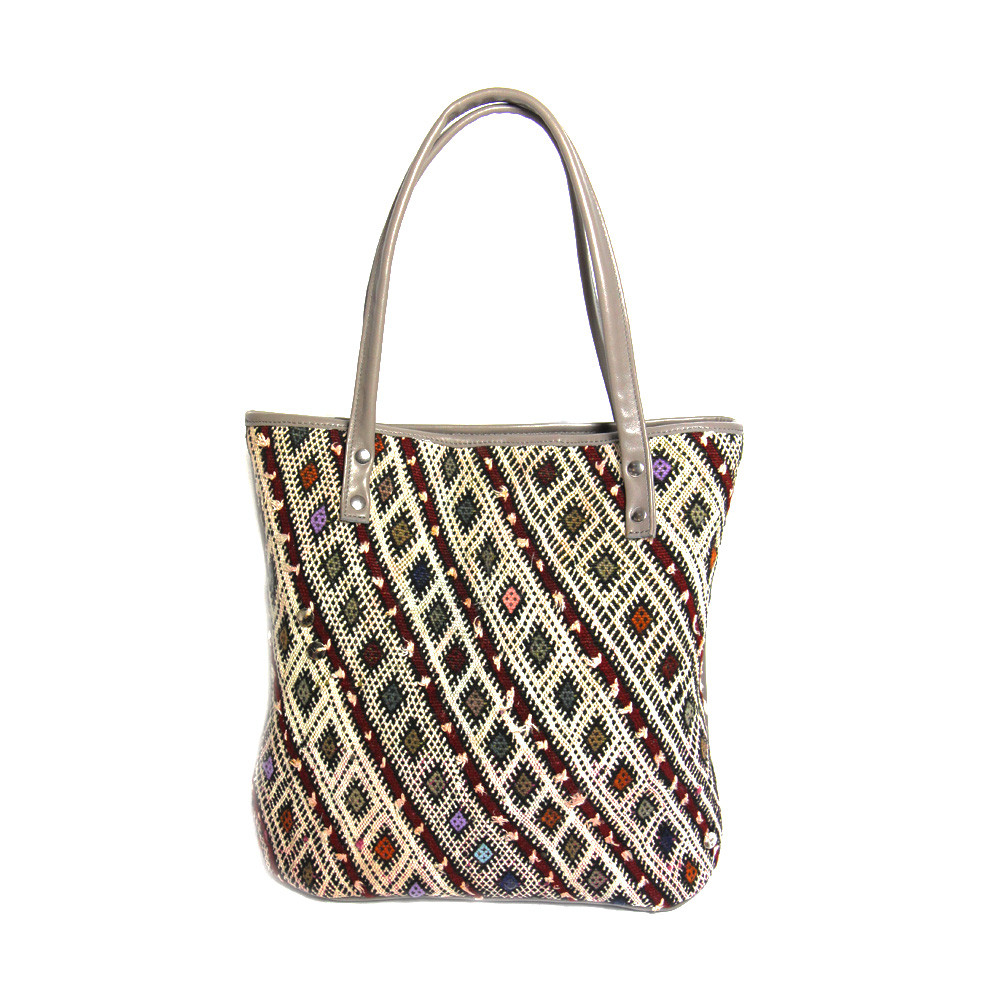 Kilim Paris Tote Bag Kilim Rive Gauche Plum One Of A Kind Maud Fourier Paris