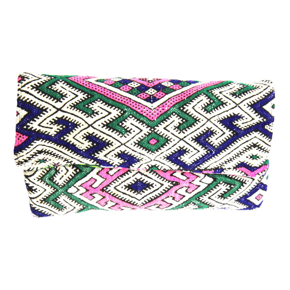 Kilim Paris Opéra Clutch Kilim And Navy Blue Leather One Of A Kind Made In Paris Maud Fourier Paris