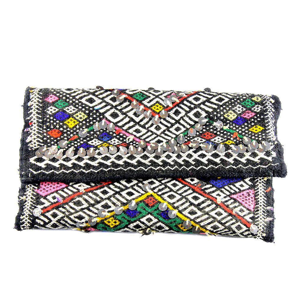 Kilim Paris Opéra Kilim Clutch Black And White Maud Fourier Paris