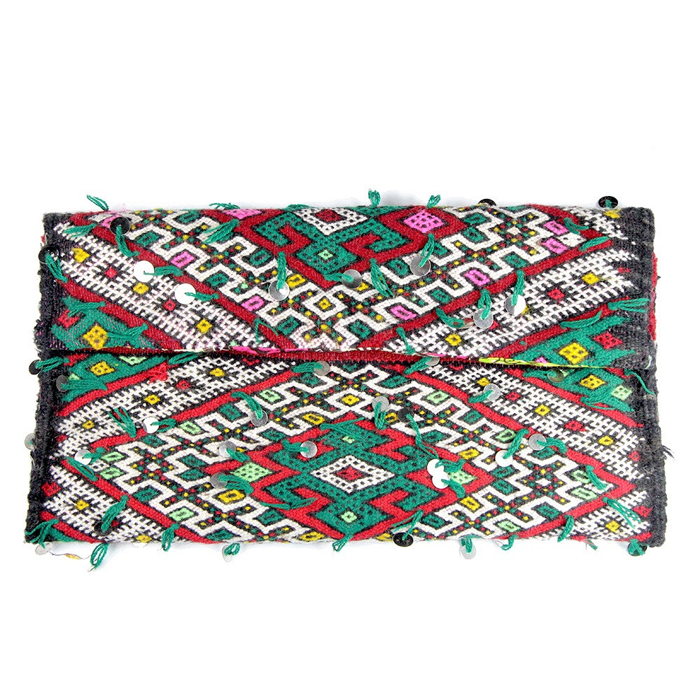 Kilim Paris Opéra Kilim Clutch Green And Red Maud Fourier Paris