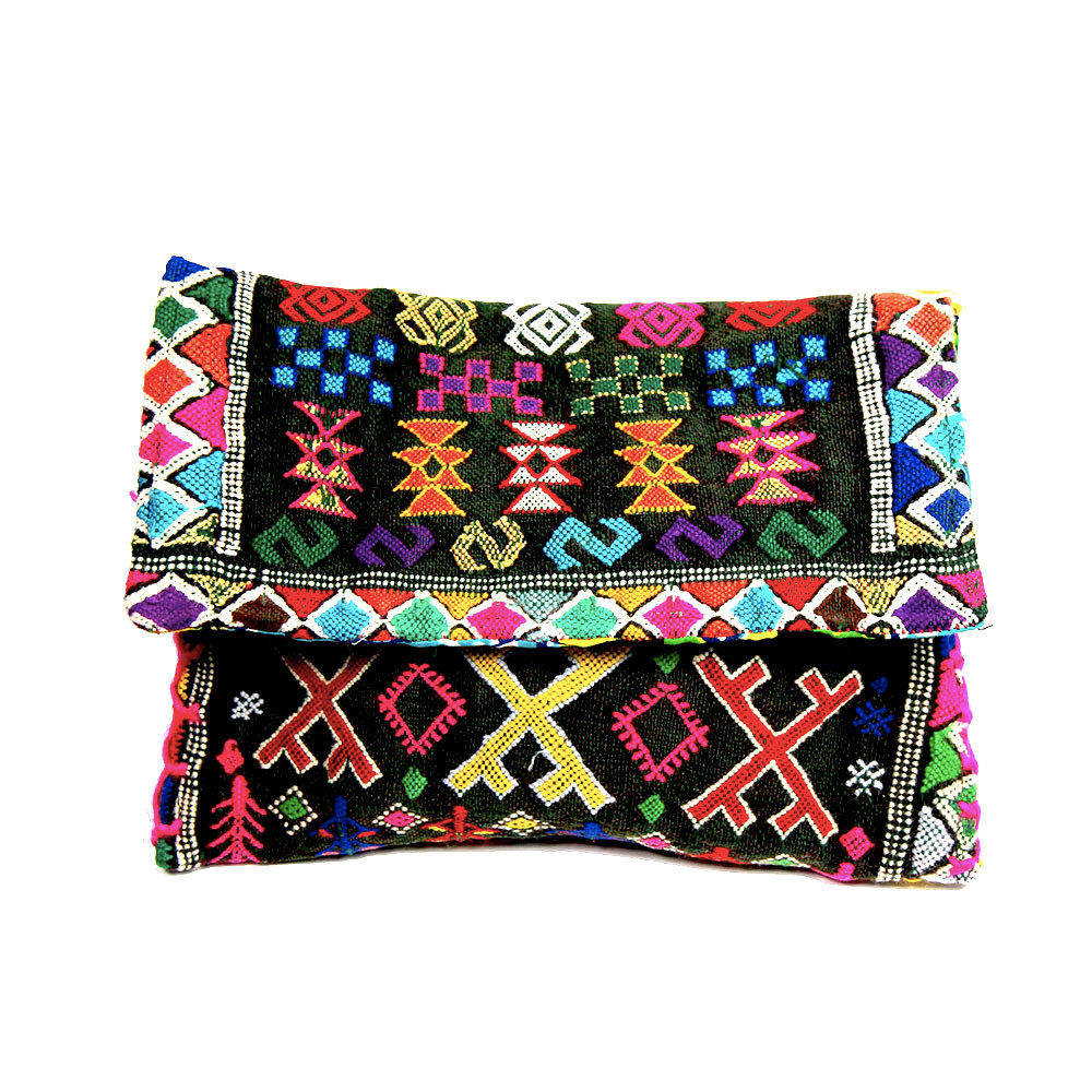 Kilim Paris Kilim Clutch Pompon And Removable Strap Maud Fourier Paris
