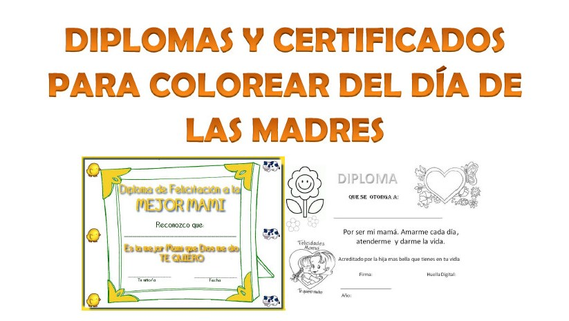 Diplomas para colorear del día de las madres Material Educativo - certificado de reconocimiento para imprimir