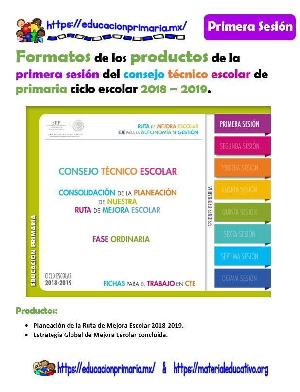 Formatos de los productos de la primera sesión del consejo técnico