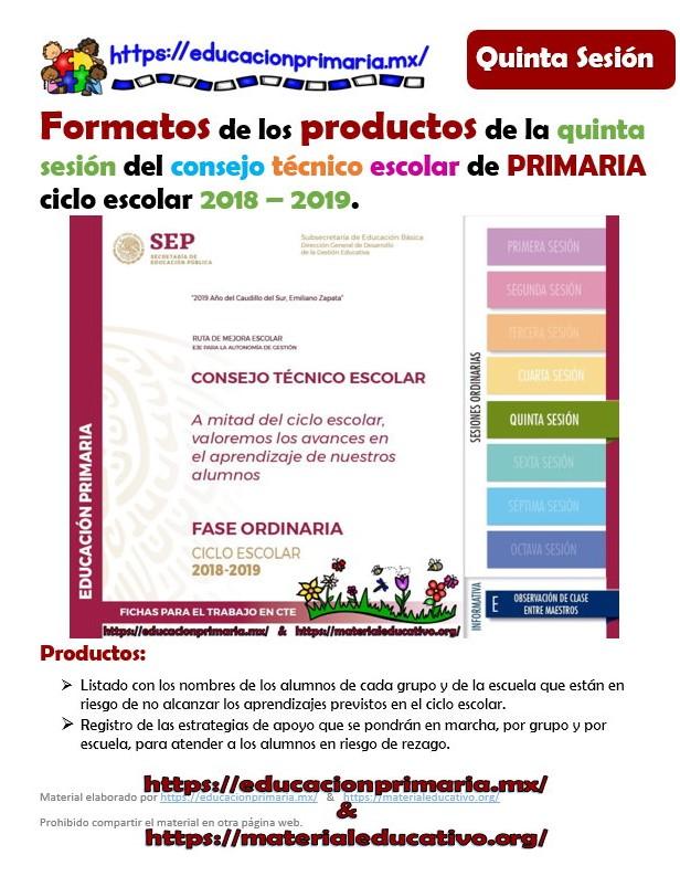 Formatos de los productos para la quinta sesión del consejo técnico