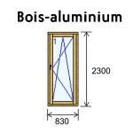 Porte d'entrée vitrée BBC bois-alu 1V 830 x 2300 mm