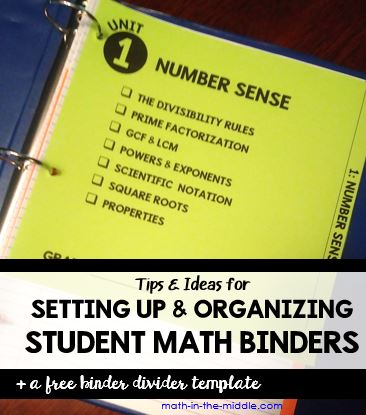 Setting Up Student Math Binders - Math in the Middle
