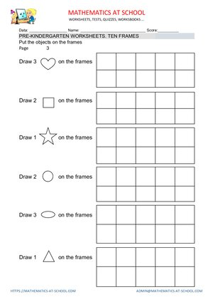 Pre-k math worksheets ten frames Count up to 3