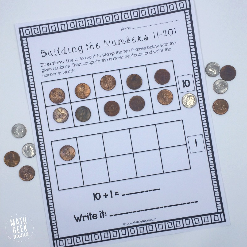 Building the Numbers 11-20 {Free Printables!}
