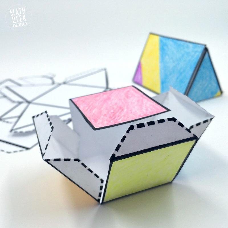 Foldable 3D Shapes (FREE Printable Nets!)