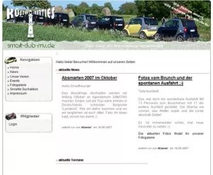 Screenshot smart Club MV Webseite Stand 2010