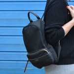 Wardrobe Details: Long Grey Skirt, Black Jumper and Backpack