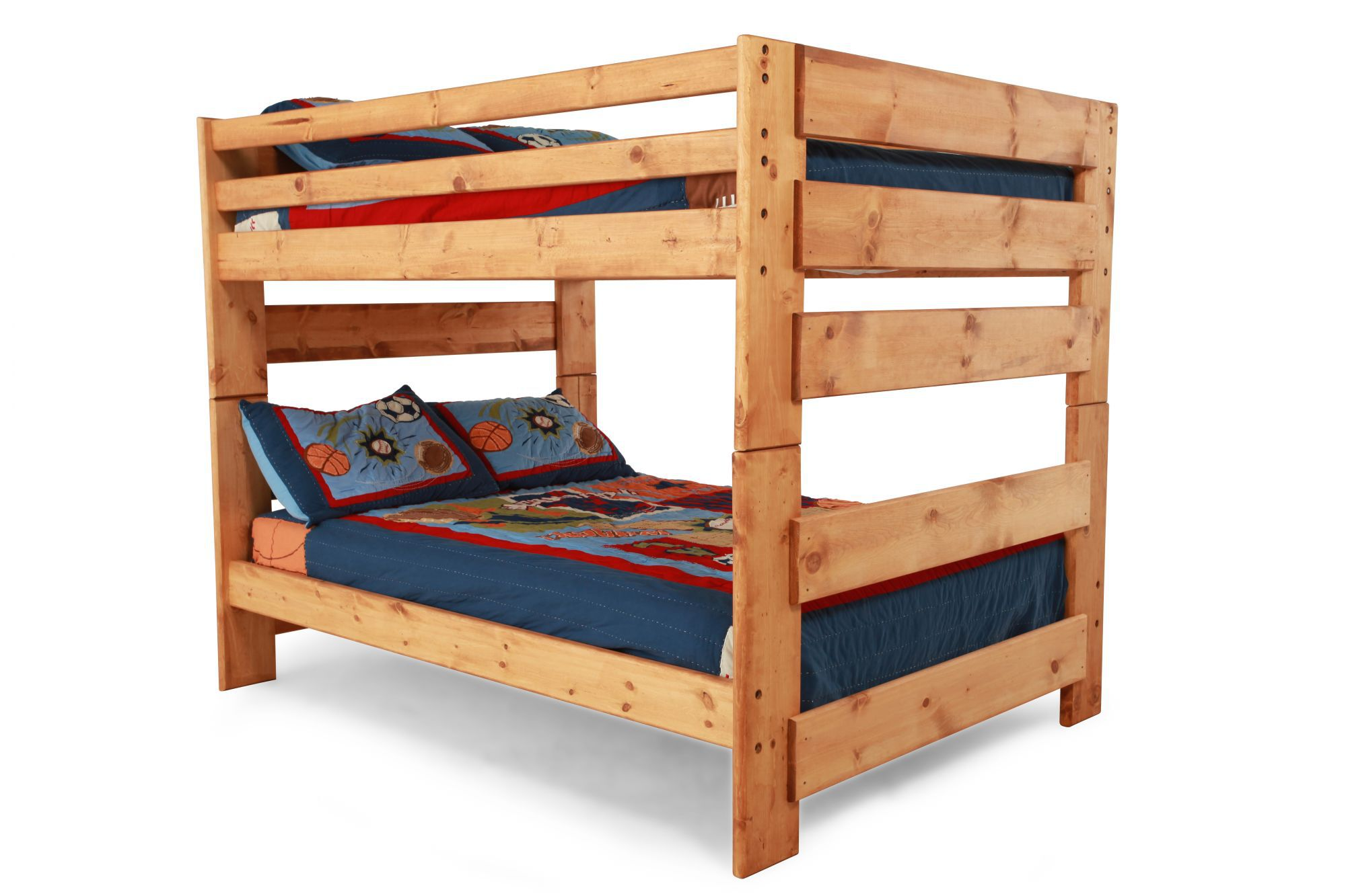 Big Loft Traditional Youth Full Over Full Bunk Bed In Light
