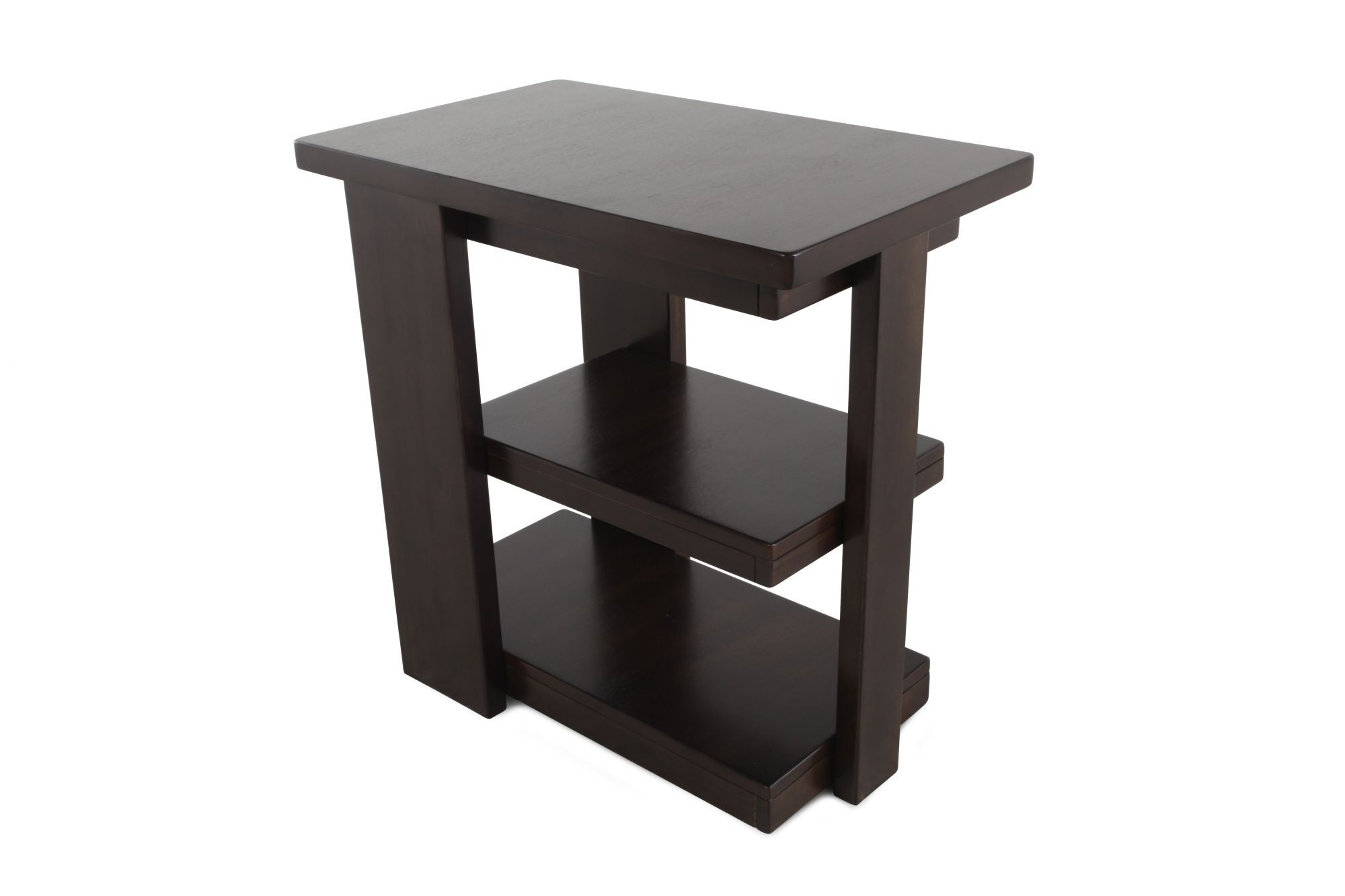 Modern Chairside Table Square Contemporary Chairside End Table In Dark Brown