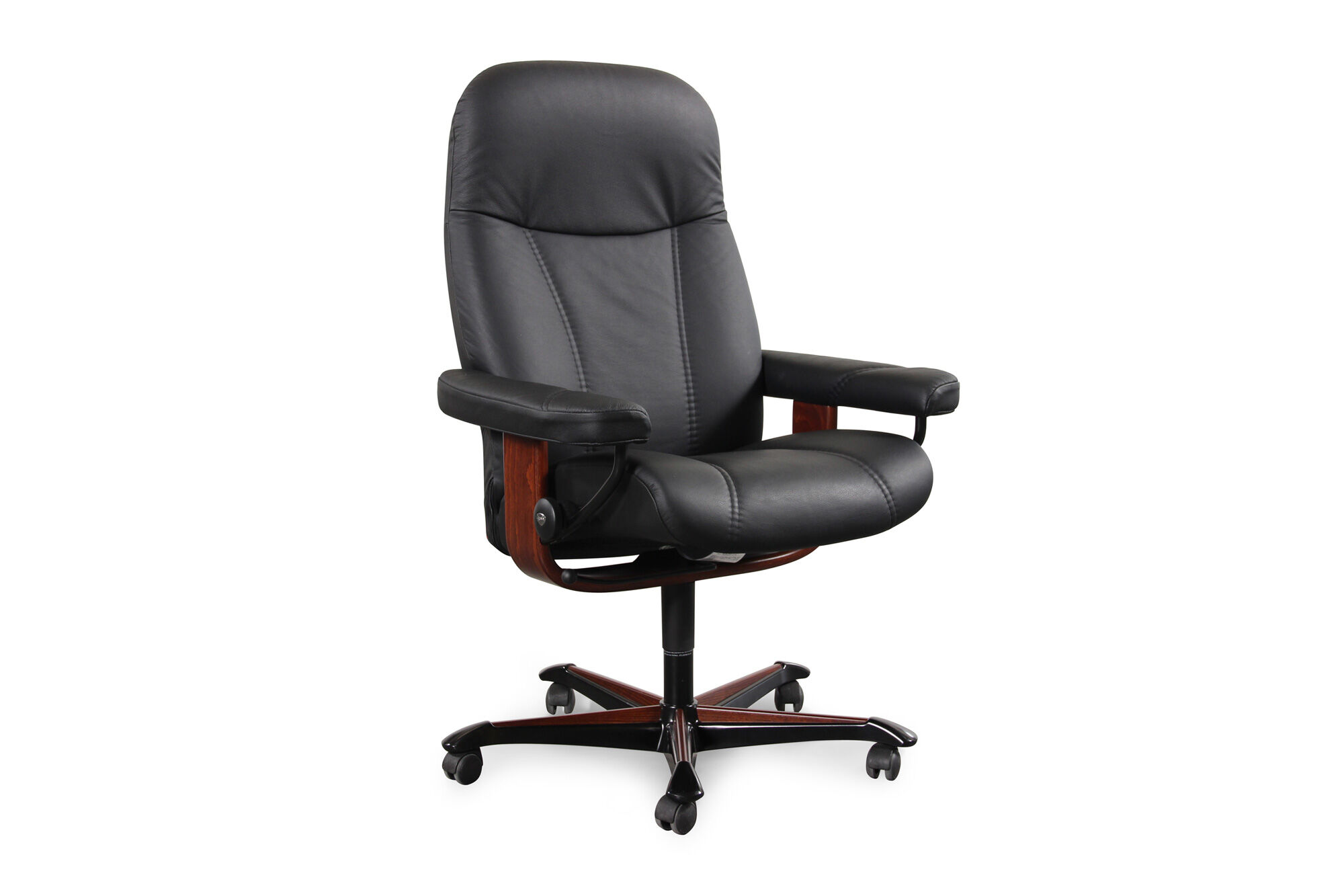 Stressless Outlet Leather Ergonomic Swivel Office Chair In Black Mathis
