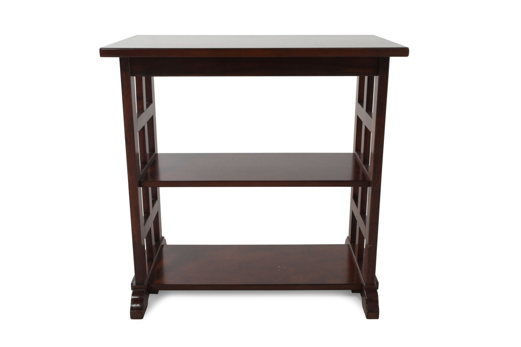 Modern Chairside Table Rectangular Contemporary Chairside Table In Cherry Brown