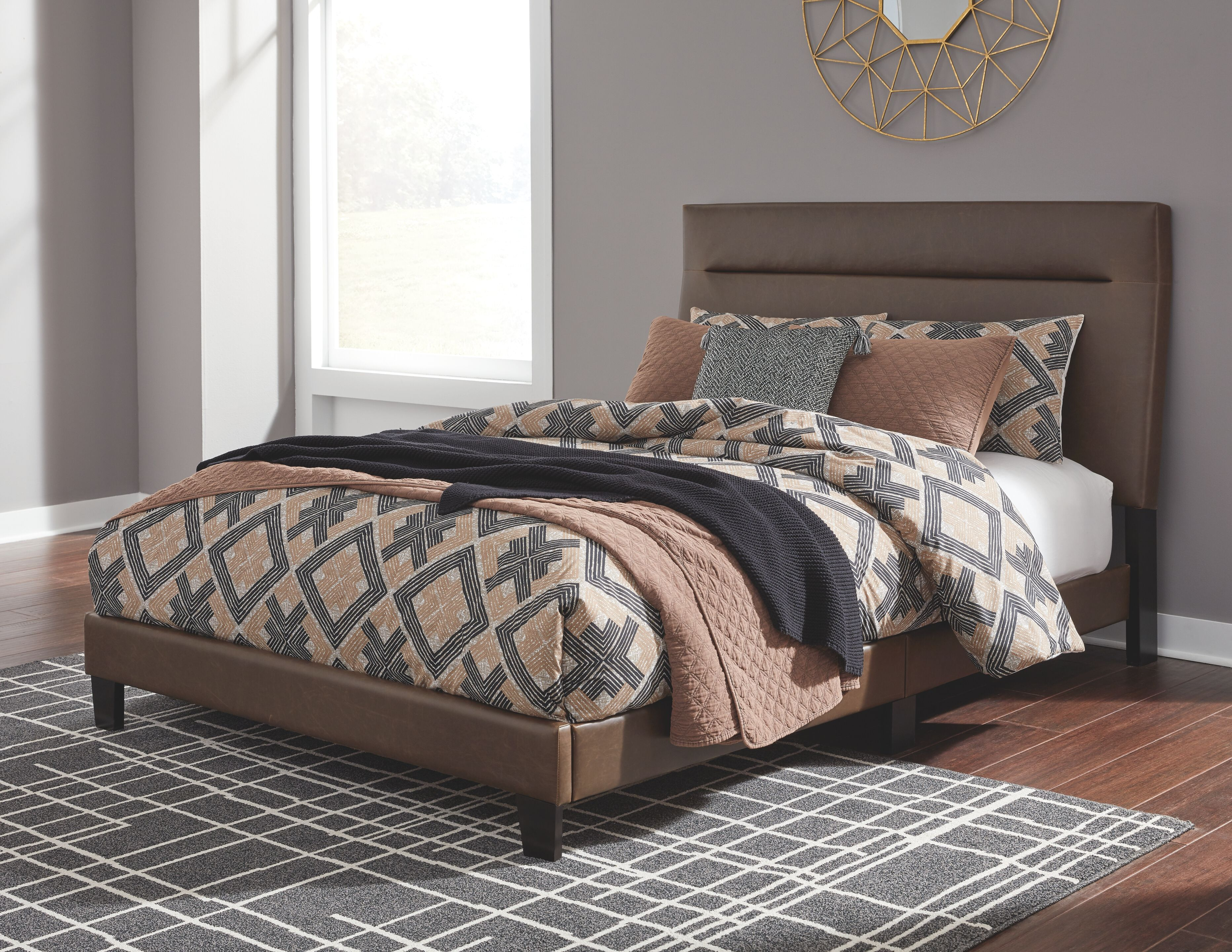 Adelloni Brown Queen Upholstered Headboard Footboard Roll Slats Mathis Brothers Furniture