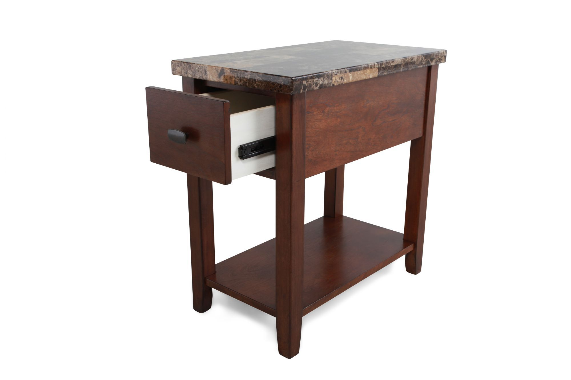 Modern Chairside Table Rectangular Contemporary Chairside Table In Medium Brown