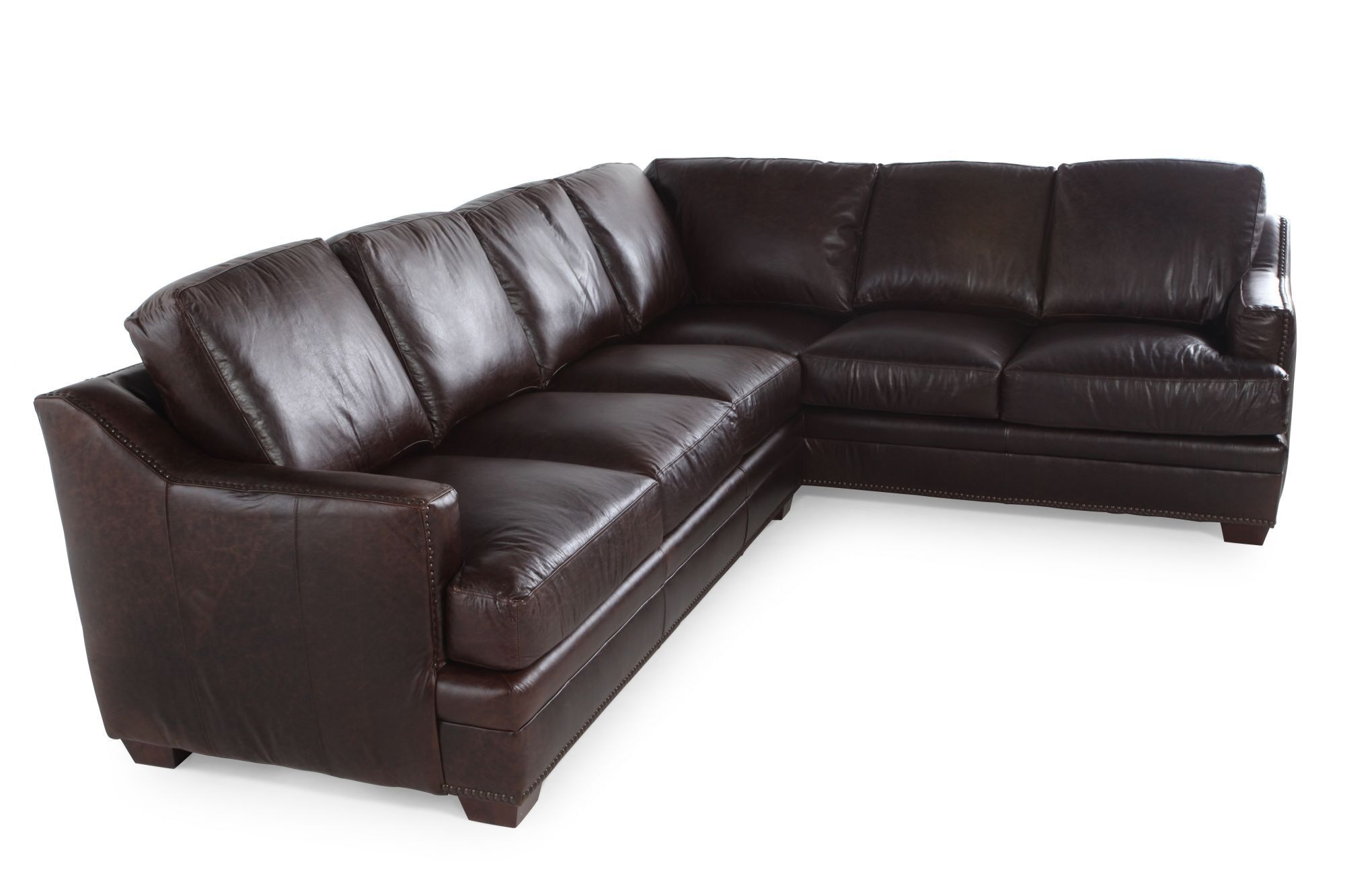 Genuine Leather Sectional Canada Two Piece Leather Sectional In Antique Brown Mathis Brothers