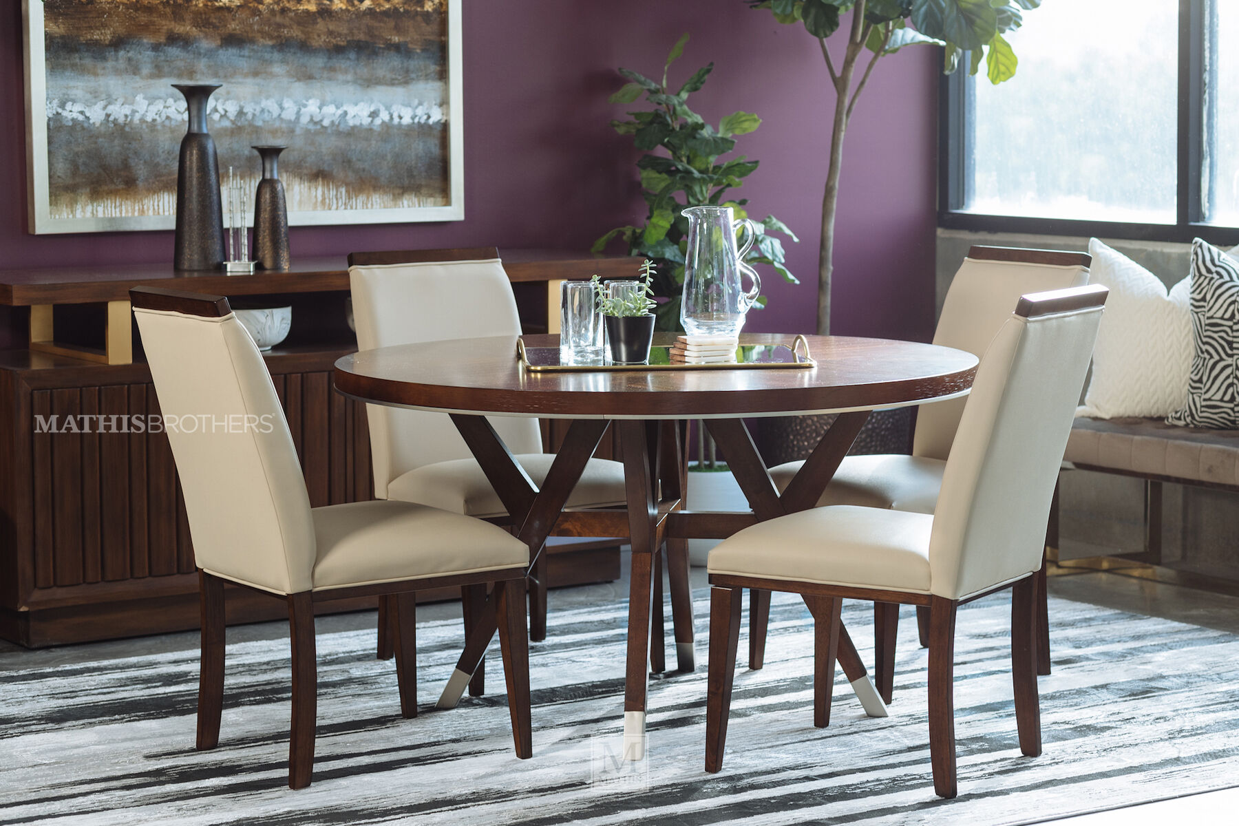 Modern Dining Set Five Piece Modern Dining Set In Medium Walnut Mathis Brothers