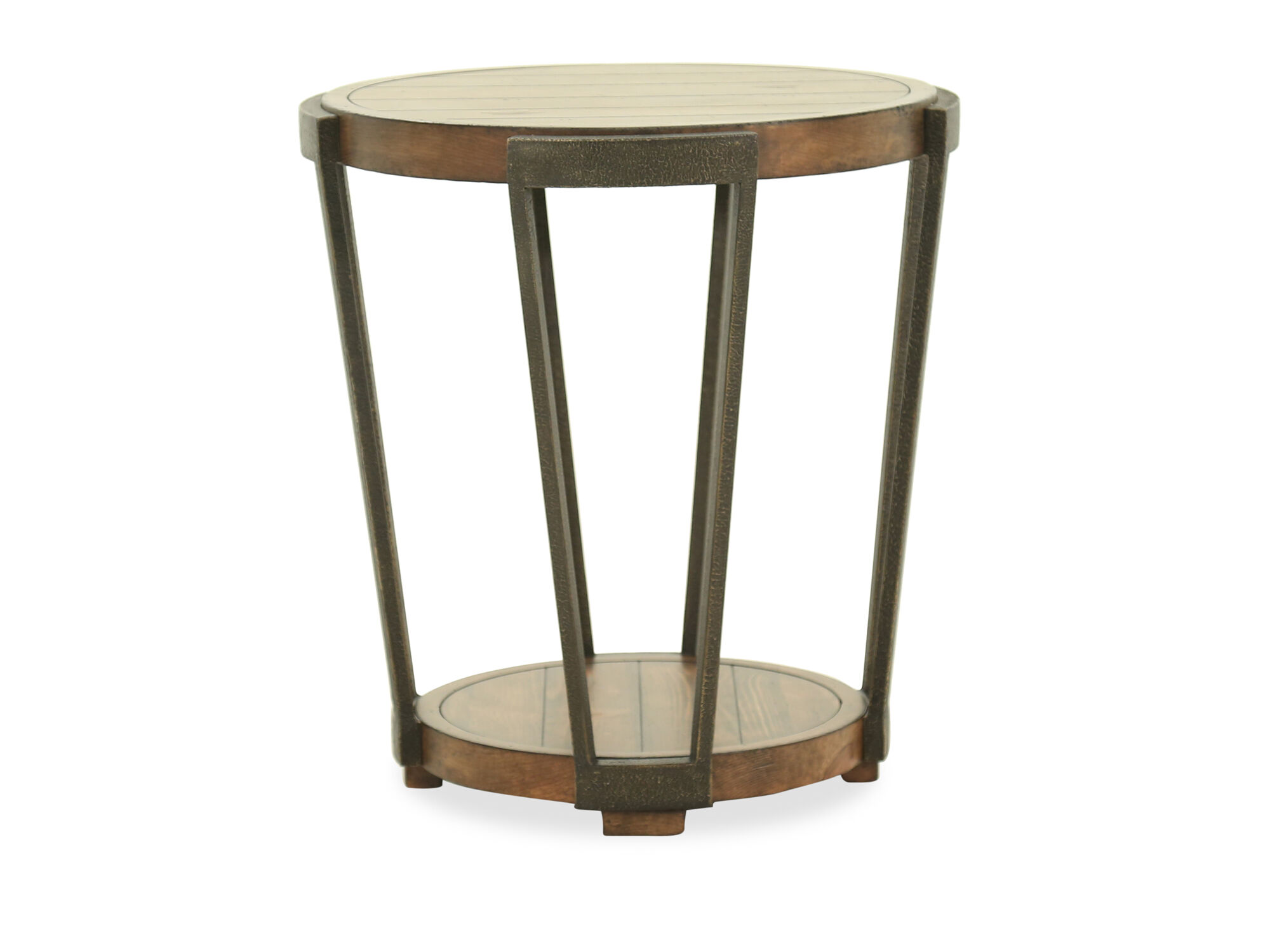 Round Industrial End Table Round Industrial End Table In Bourbon Mathis Brothers