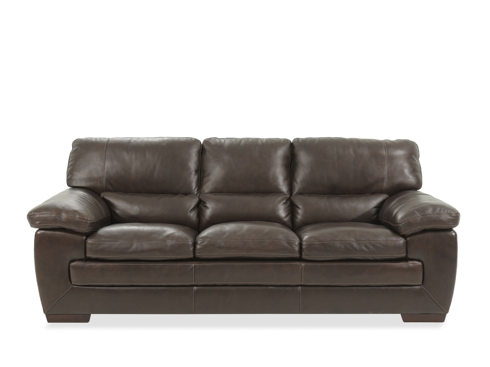 "Sofas Leder 87"" Leather Sofa In Dark Brown 