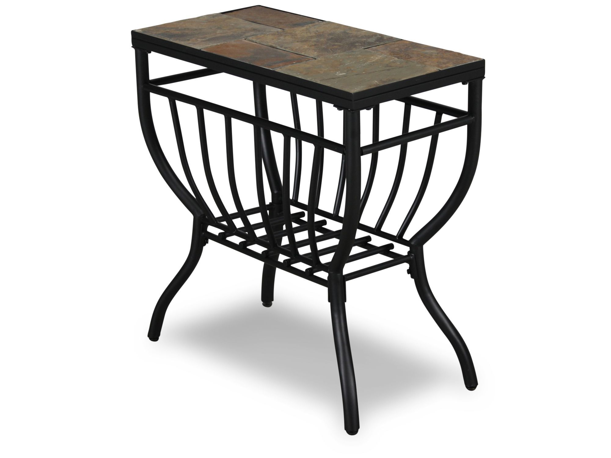 Modern Chairside Table Rectangular Contemporary Chairside Table In Gunmetal