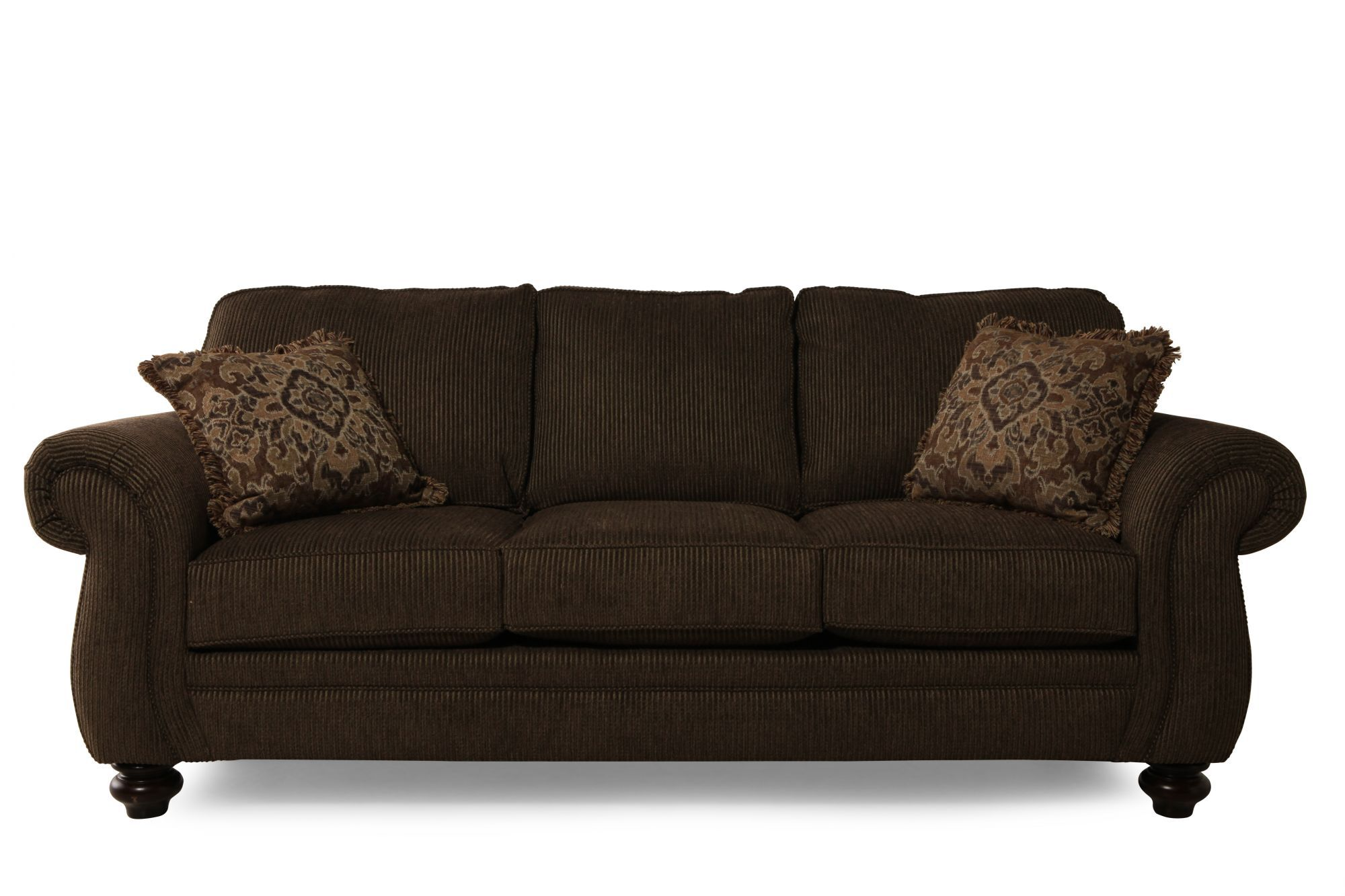 "Corduroy Sofa Sectional Traditional Corduroy 89"" Sofa In Brown 