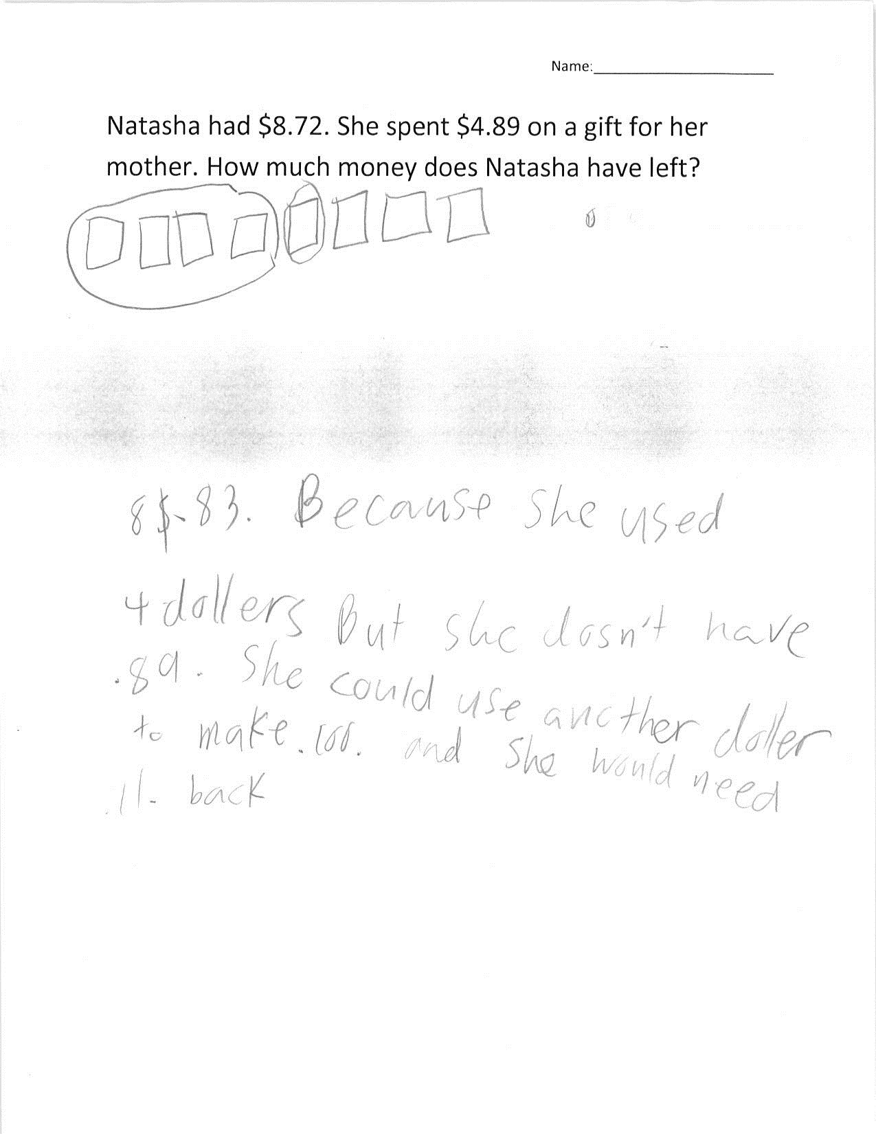 worksheet Money Subtraction class set 4th grade money subtraction math mistakes student 2