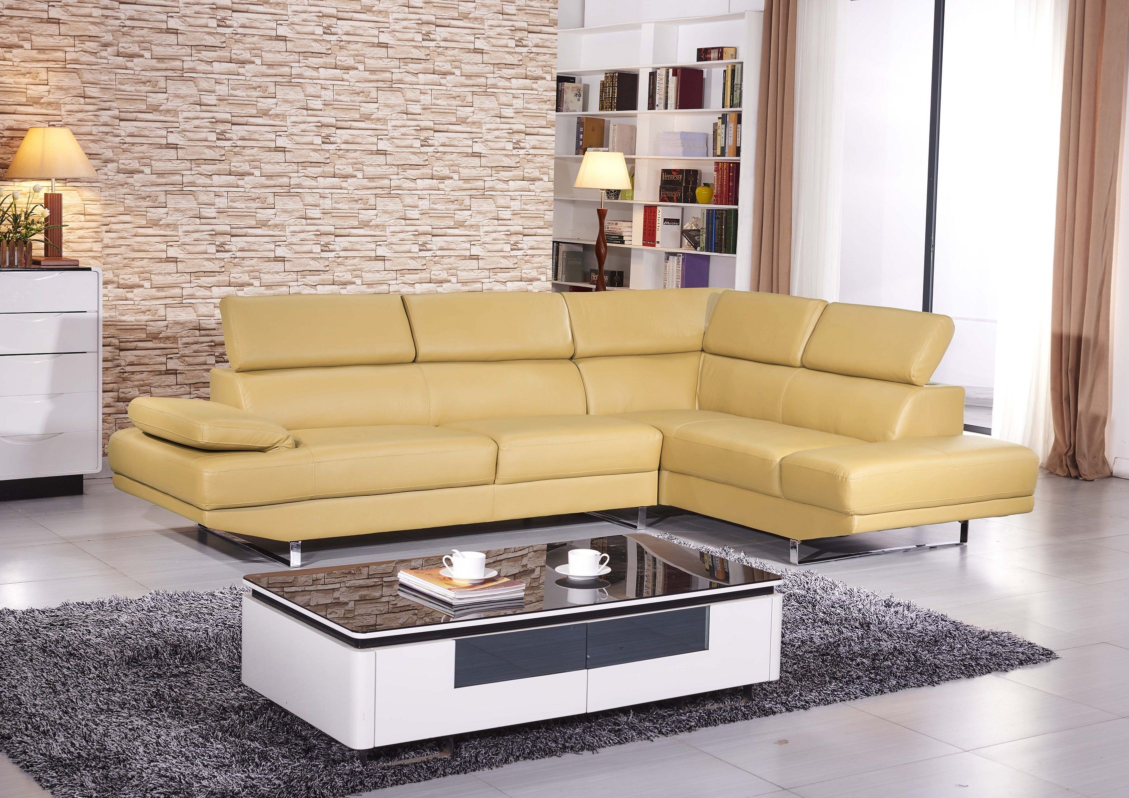 Mia Modern Sectional Soft Yellow Matisseco
