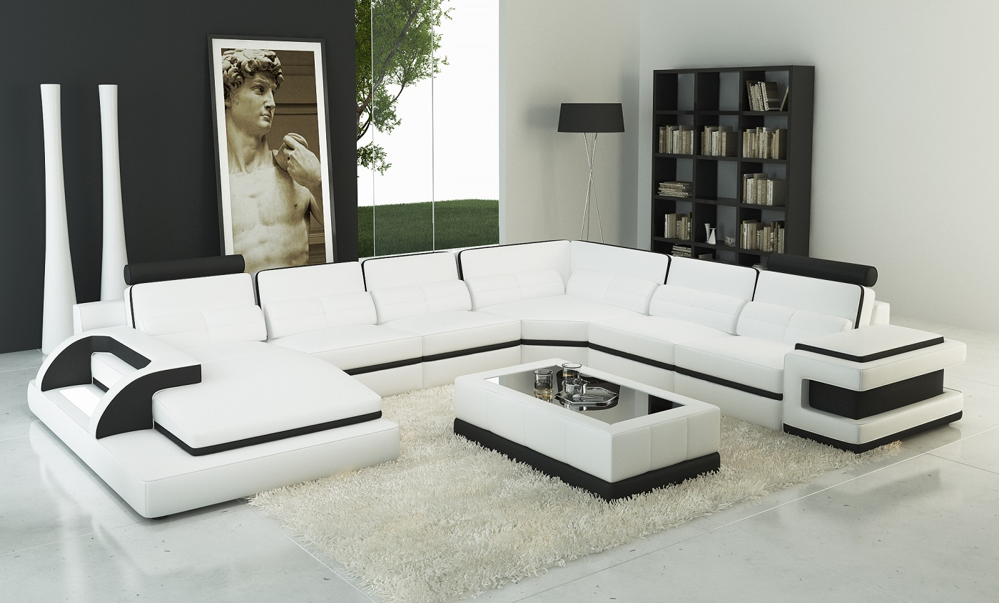 Sofa Led Torro Sectional Sofa With Led Lights White Black Trim