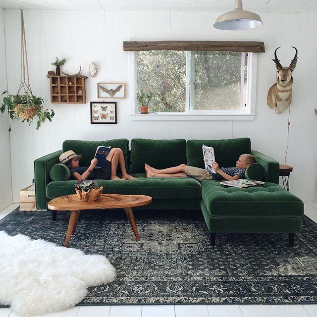 Die besten 25+ Grünes sofa Ideen auf Pinterest Samt Sofa - wohnzimmer braun grun