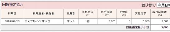 楽天カードの利用明細(楽天バーチャルプリペイドカードへのチャージ)