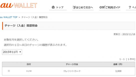 楽天バーチャルプリペイドカードでのチャージ結果(2015年11月18日)