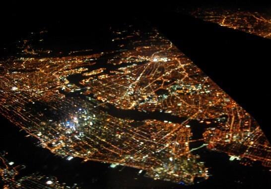 飛行機から見た夜景