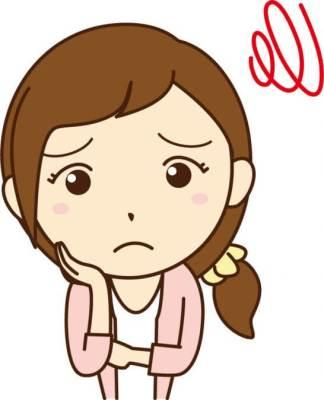 困った表情の女性のイラスト