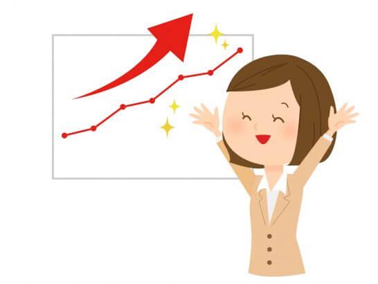 右肩上がりのグラフと喜ぶ女性のイラスト