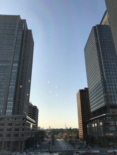 東京ステーションホテルのジュニアスイートツインの窓からの景色