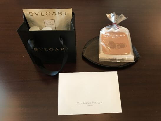 東京ステーションホテルの一休ダイヤモンド会員特典(ウェルカムプチギフト、ブルガリバスアメニティ)