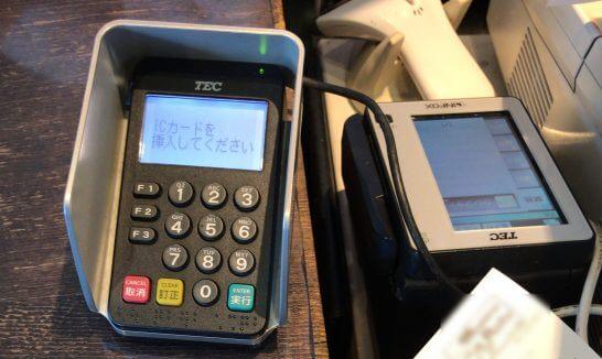 クレジットカードの読み取り端末(TEC)