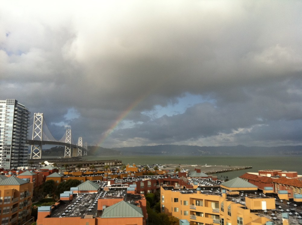 Rainbow and Bay Bridge