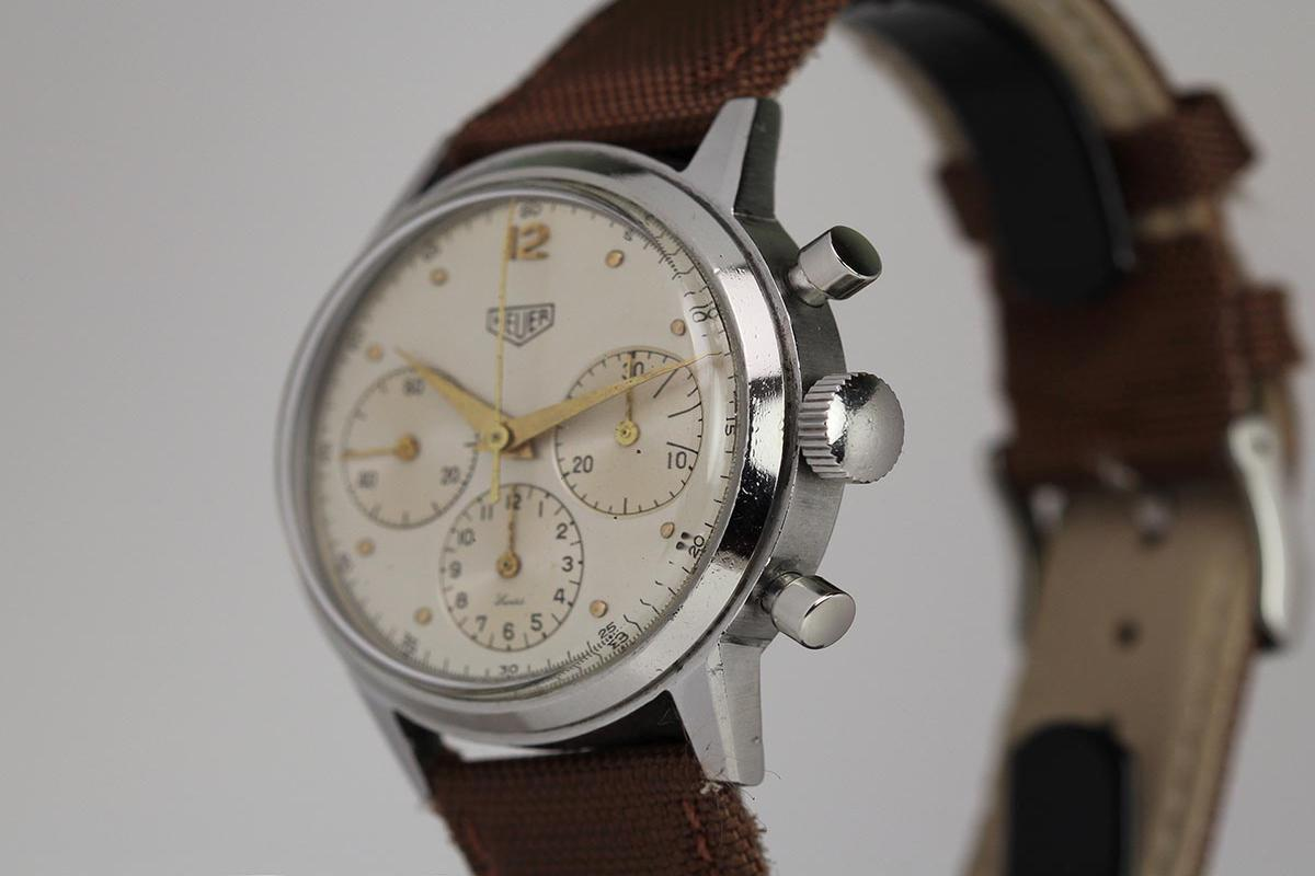 Stainless Rolex 1950 Heuer Chronograph Watch For Sale - Mens Vintage
