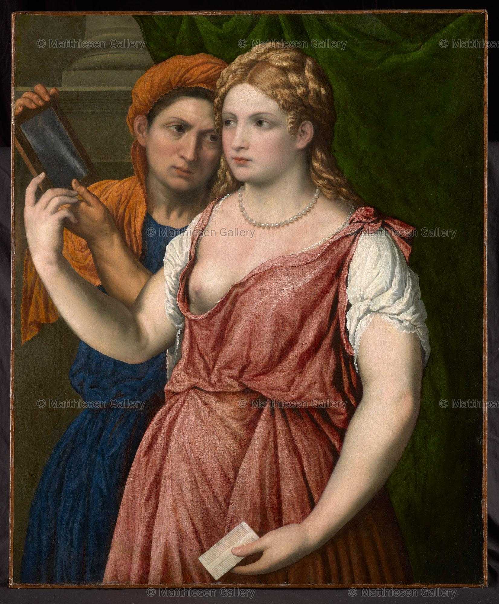 Arte Bella Gallery Work Of Art A Young Woman Holding A Mirror With Her Servant A Bella