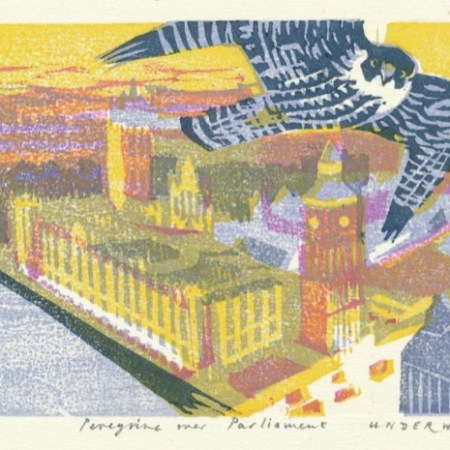 """Peregrine over Parliament"" woodblock print by Matt Underwood"