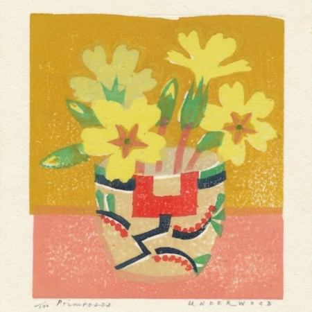 """Primroses"" woodblock print by Matt Underwood"