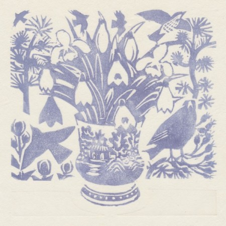 """Snowdrops"" woodblock print by Matt Underwood"