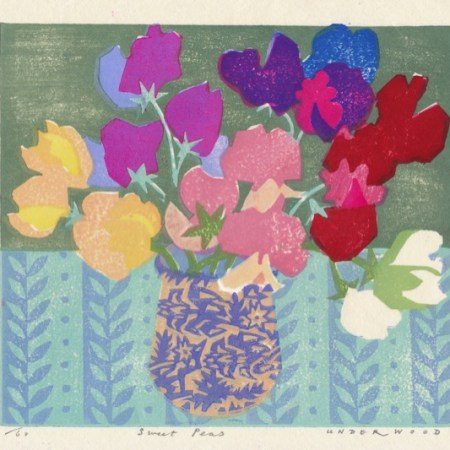 """Sweet Peas"" woodblock print by Matt Underwood"