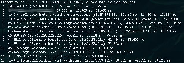 comcast netflix traceroute