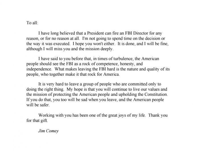 Comey\u0027s Farewell Letter to His FBI Colleagues Matzav - farewell letter