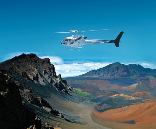 Air Maui Hana Haleakala helecopter tour flying over Haleakala Crater on its way to Hana.