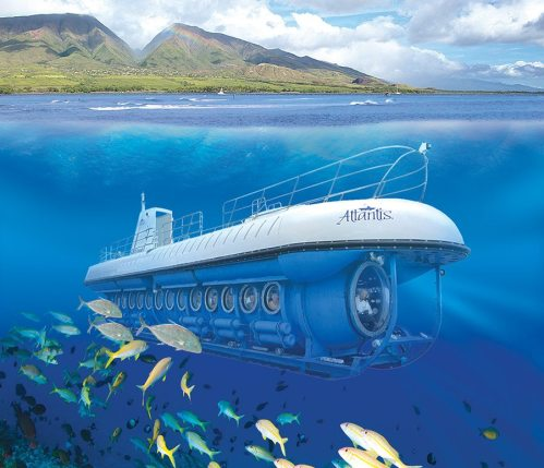 The Atlantis Submarine underwater passing by tropical fish and colorful reef